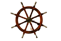 36 Inch Wooden Ship Wheel With Brass Anchor And Brass Handle
