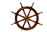 36 Inch Wooden Ship Wheel With Brass Anchor And Brass Ring