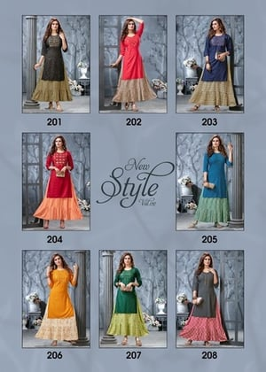 Style New Vol 2 Rayon 14 Kg With Gota Pati Embroidery Kurti With Attached Skirt