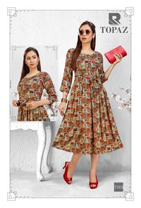 Topaz Designer Trendy & Stylish Anarkali  Rayon Kurtis with Belt