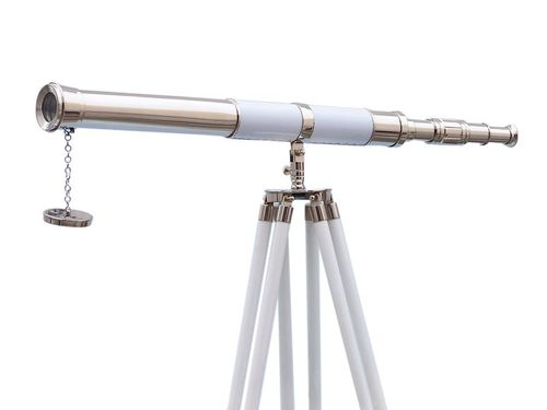 Admirals Floor Standing Chrome Finish Brass Telescope with White Leather Sheltred And wooden Tripod Stand