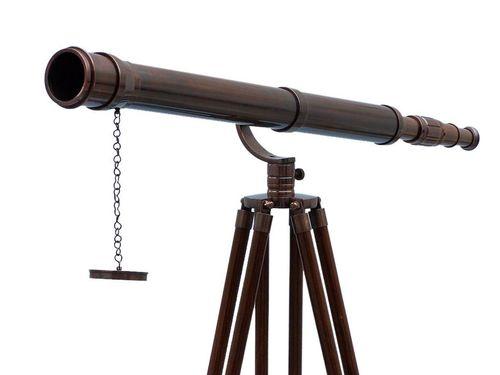 Floor Standing Antique Copper Galileo Telescope