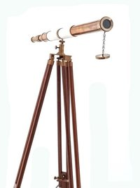 Brass Telescope with white leather and wooden stand