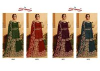 Kohinoor Pakistani Salawar Kameez Skirt With Short Top Heavy Embroidery