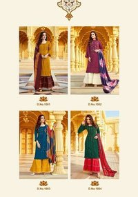 Raghini Vol 1 3 Kurties With Sharara And Dupatta Beautiful Catalogue Having Designer Concept