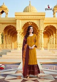 Raghini Vol 1 3 Kurties With Sharara And Dupatta Beautiful Catalogue Having Designer Concept