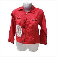 Red Color Denim Jacket