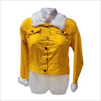 Girls Denim Yellow Jacket