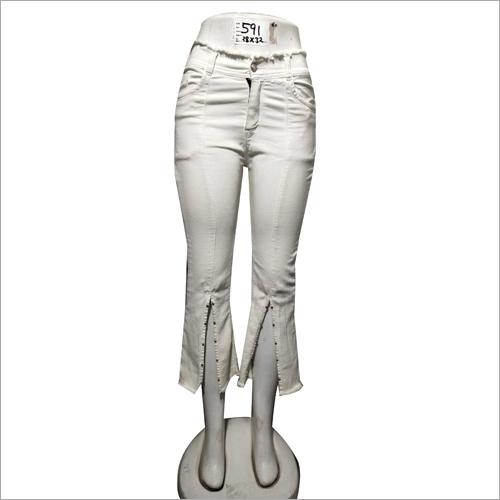 Girls Regular Fit White Jeans