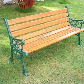 Wooden Plank CI Garden Bench