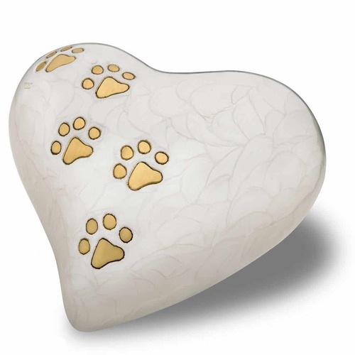 White Pet Heart Urn