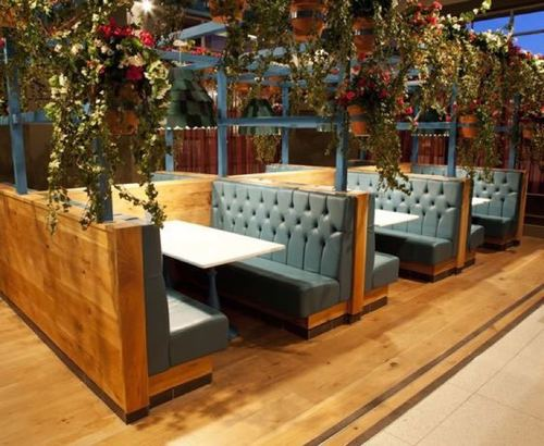 Restaurant sofas and table