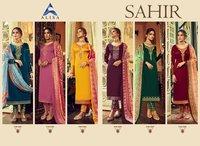 Sahir Designer Gorgette Satin With Bottom Work With Digital Print Dupatta
