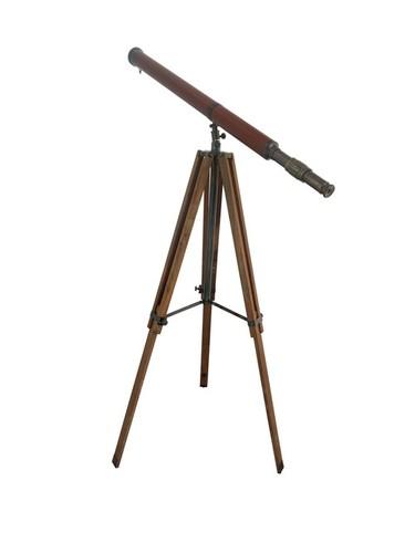 Floor Standing Antique Brass master Telescope with wooden stand