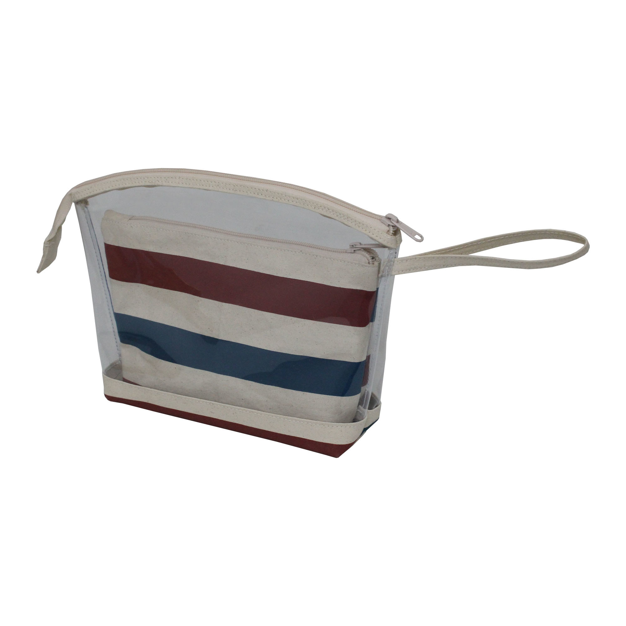 See Through 12 Oz Canvas Pouch With Zip Closure & Striped Print