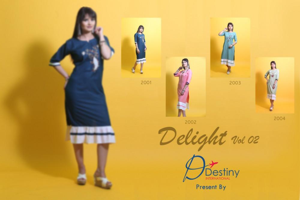 Destiny International Delight Vol-2 Rayon Rich Look Art Hand Work Kurti Catalog