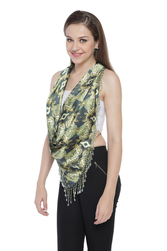 triangular Fringes Printed  Scarves