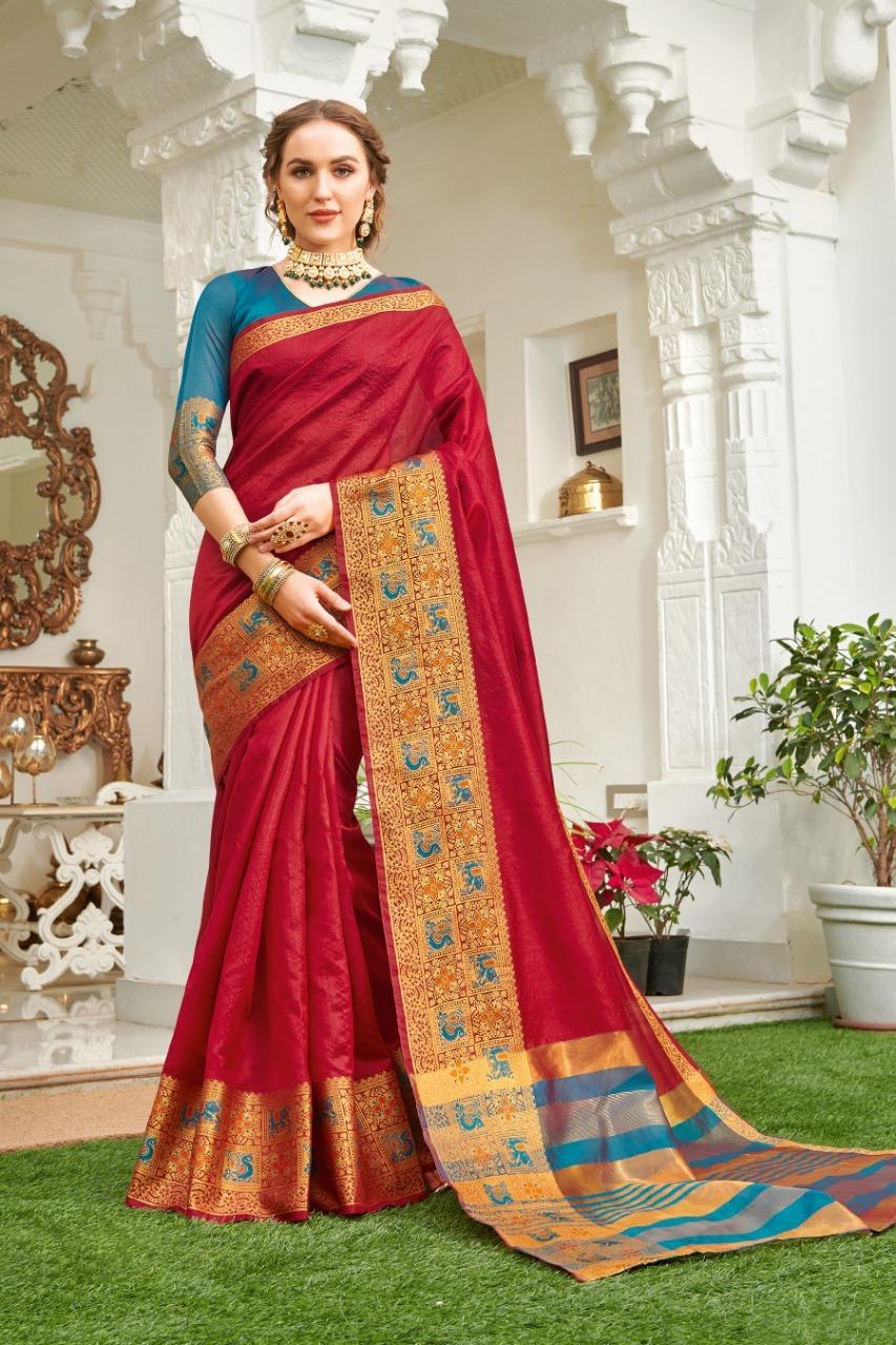 Sangam Prints Udaan Cotton Handloom With Designer Pallu Saree Catalog