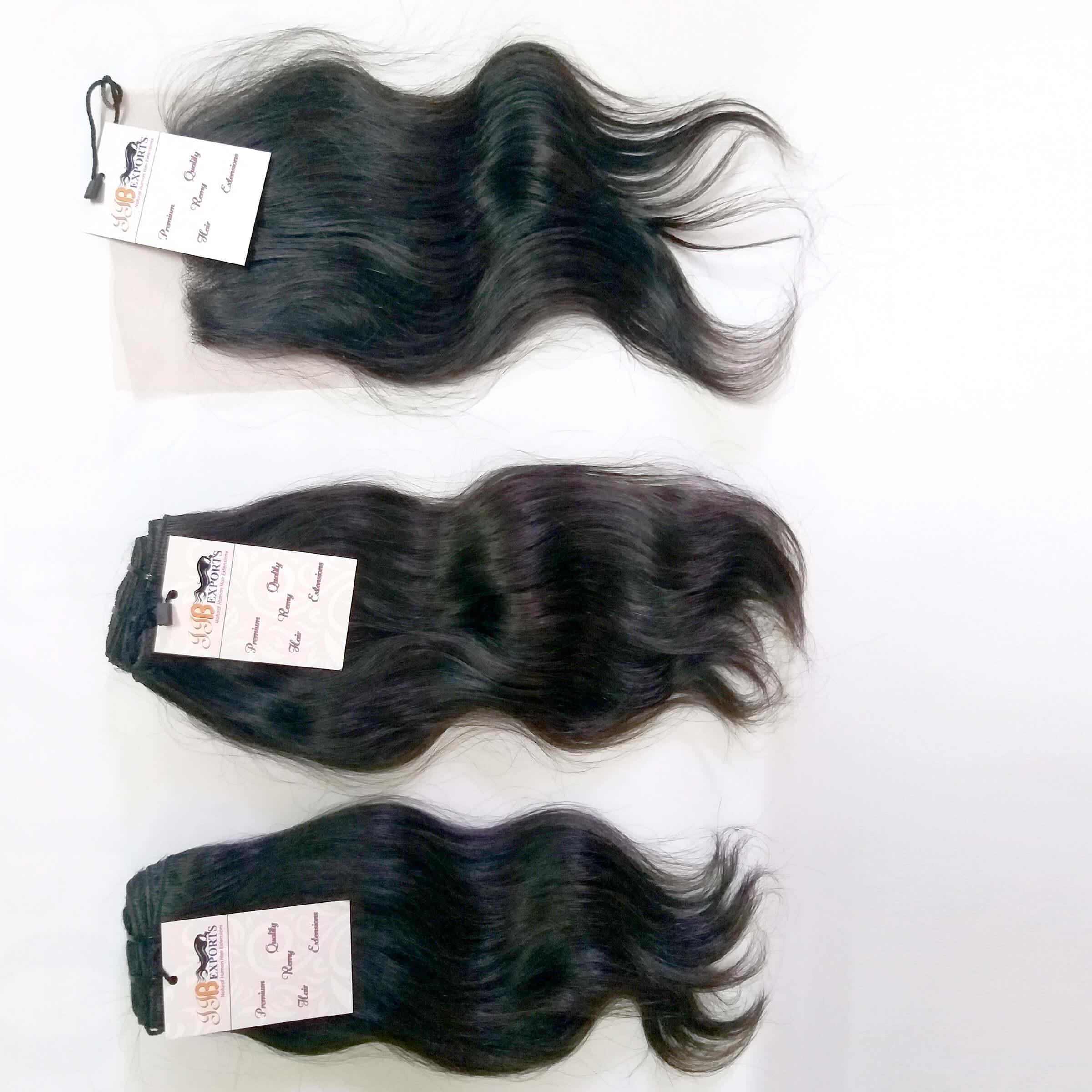 Natural Virgin Wavy Hair Bundle With Transparent Invisible Lace Closure