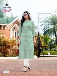 Decent 14 Kg Rayon Dobby Pattern With Embroidery Work Button Kurtis