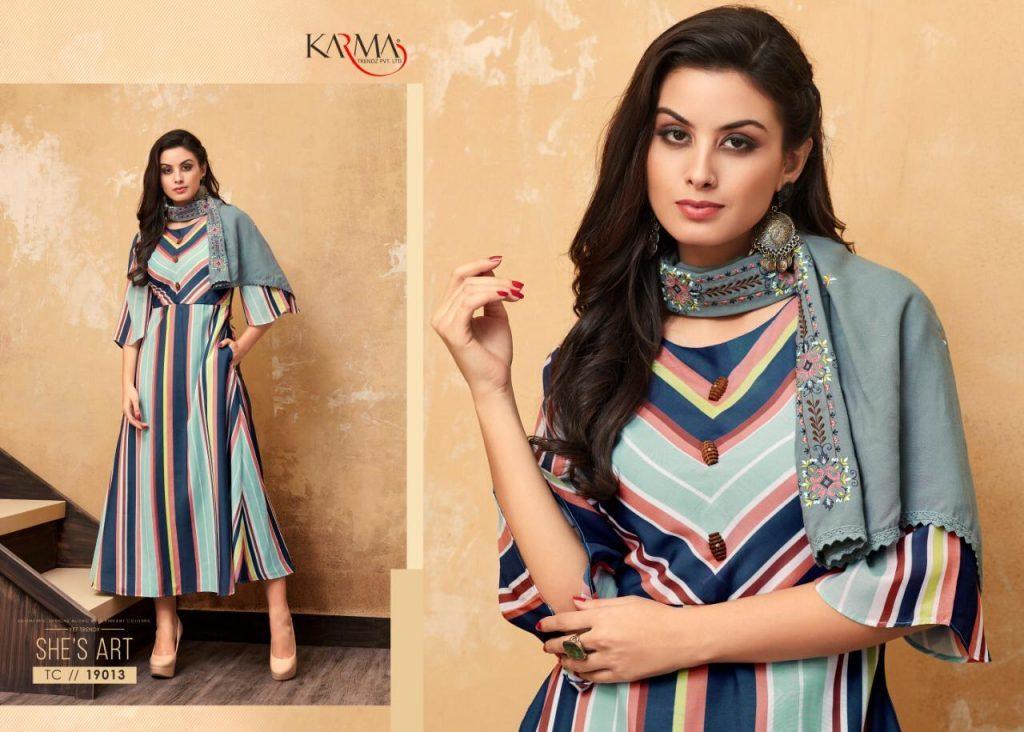 Karma Trendz Tucute Vol 19 Muslin Digital Print Top And Rayon Embroidered Scarf Kurti Catalog