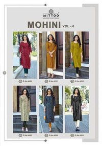Mohini Vol 6 Weaving Strips Kurtis With Pant