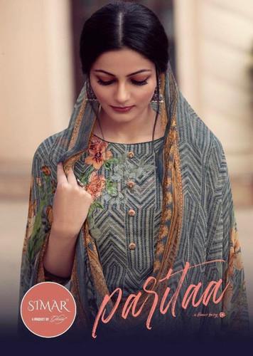 Glossy Simar Paritaa Pure Jam Satin Digital Print With Hand Work Suits Catalog