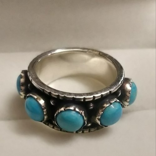 925 Sterling Silver Natural Larimar Ring