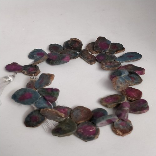 Natural Ruby Goshenite Flat Beads