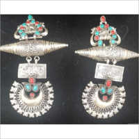 925 Sterling Silver Indian Vintage Look Earrings