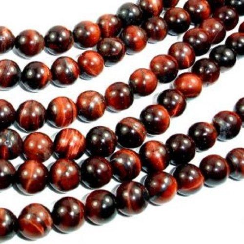 Natural Round Red Tiger Eye Smooth Beads