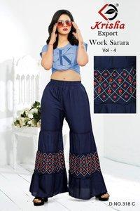 Work Sarara Vol-4 Designer 14 Kg Rayon Embroidery Work Sharara