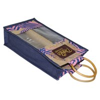 PP Laminated Jute Two Bottle Bag With Window
