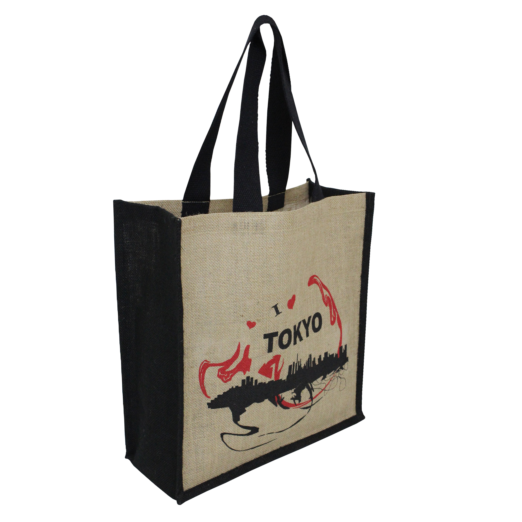 PP Laminated Natural Jute Bag With Web Handle