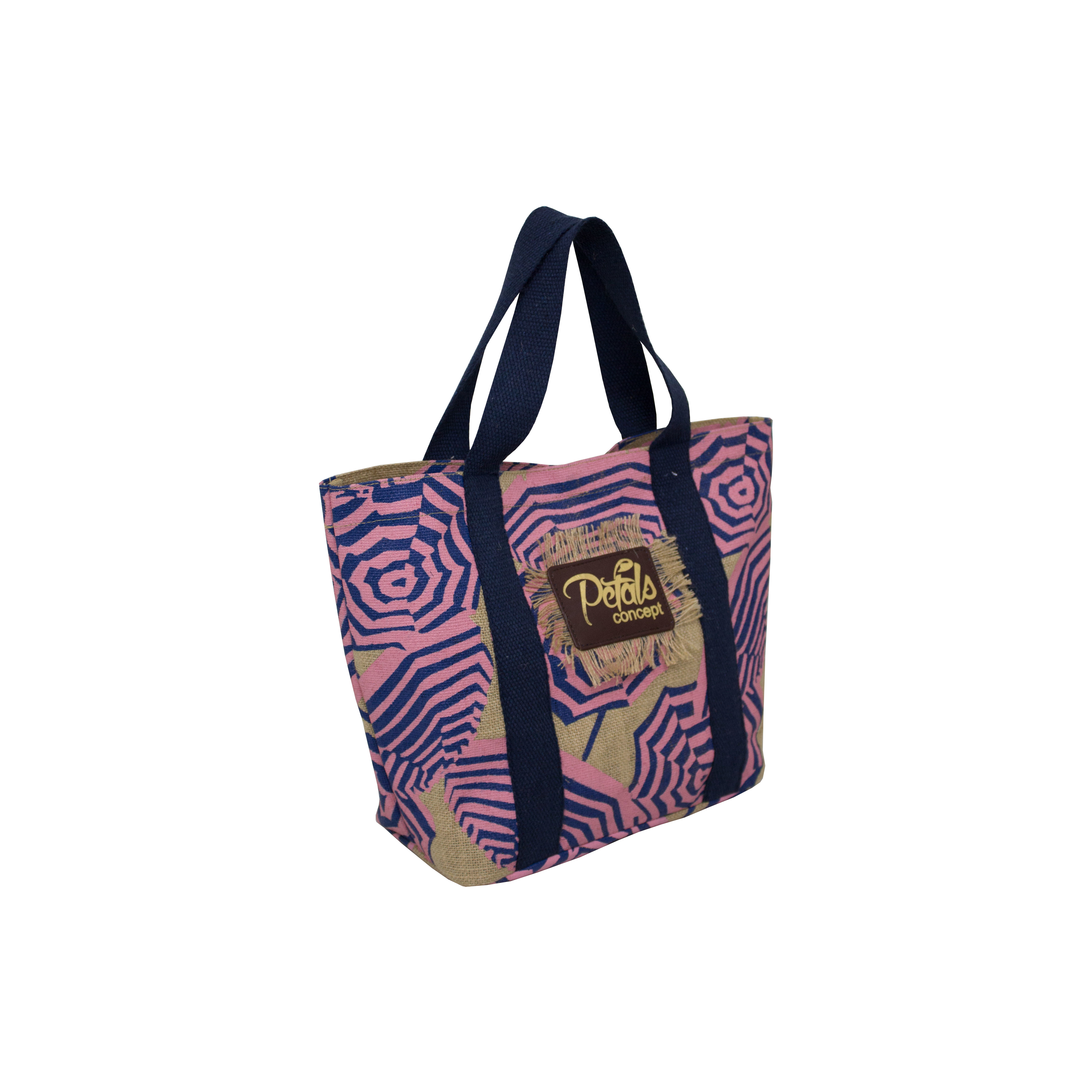 PP Laminated Jute Tote Bag With Two Color Overall Umbrella Print