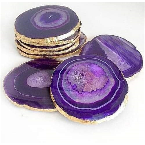 Natural Agate Coasters Purple
