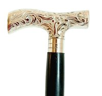 Brass Design Handle Walking Stick with Wooden Shaft Three Fold Walking Cane for Old Age Person Black wooden