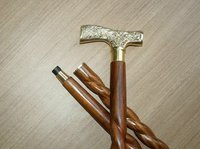 Brass Design Handle Walking Stick with Wooden Shaft Three Fold Walking Cane