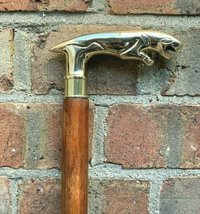 Brass Lion Handle Wooden Walking Stick