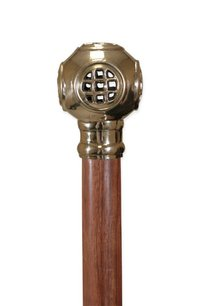 Diving Helmet Wooden Walking Stick