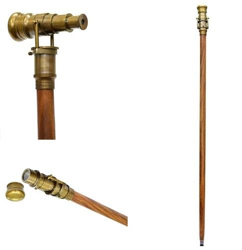Antique Telescope Handle Wooden Walking Stick - 36 Inch