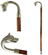 Nickel Plated Brass Handle Walking Stick