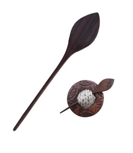 Rosewood 4 inch Leaf Shawl Stick