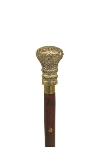 Brass designer Round Handle Wooden walking stick