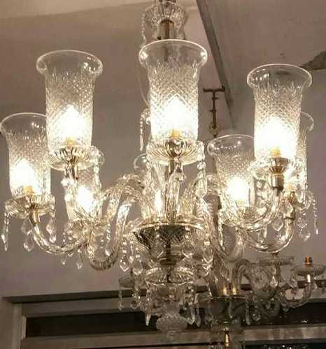 Clear Finished 8 Light Glass Chandelier