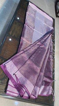 Pure Tissue Linen Saree