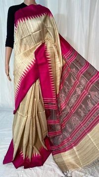 Pure Gheecha Tussar Silk Temple Border Saree With Ikkat Woven Pallu