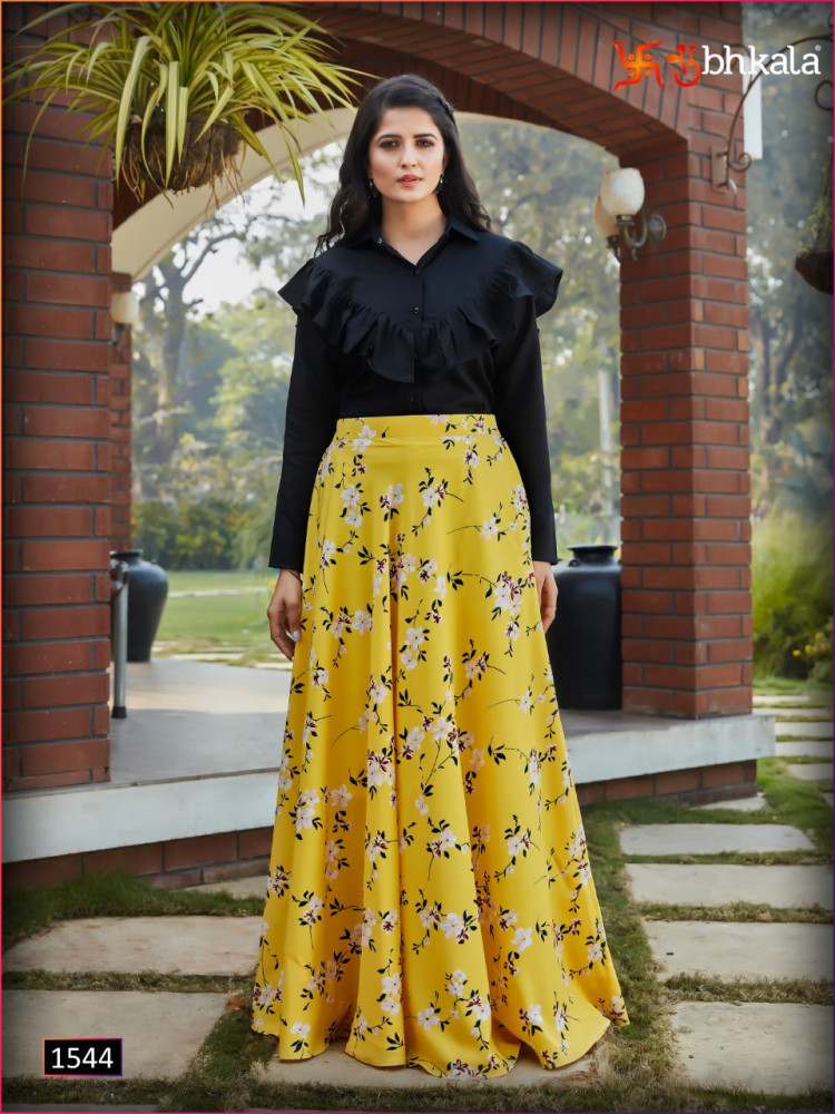 Shubhkala Frill And Flare Vol-3 Stitch Crop Top With Skirts Catalog