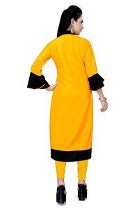 Genric Stylish Casual Wear Yellow Rayon Kurti For Women