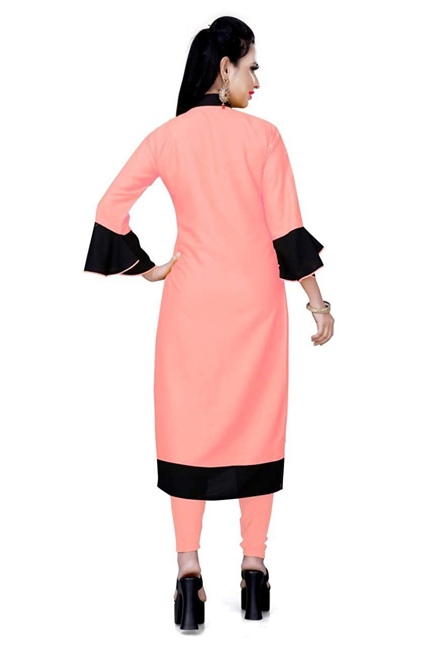 Genric Stylish Casual Wear Pink Rayon Kurti For Women